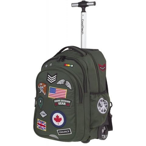 Plecak na kółkach CoolPack CP zielony ze znaczkami JUNIOR BADGES GREEN A417