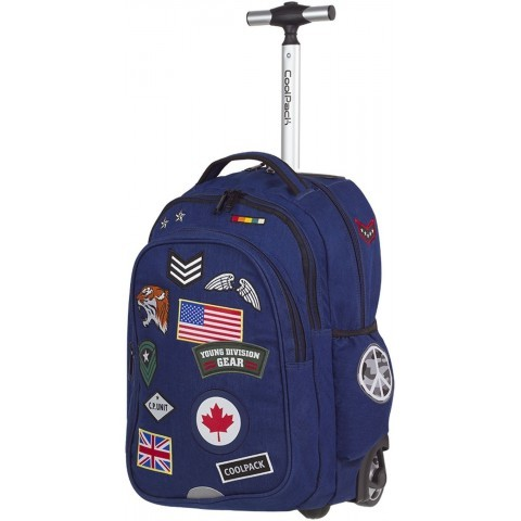 Plecak na kółkach CoolPack CP granatowy z naszywkami JUNIOR BADGES NAVY - A410
