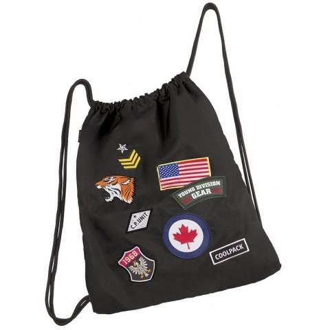 Worek na sznurkach / na buty CoolPack Sprint Badges Black czarny ze znaczkami