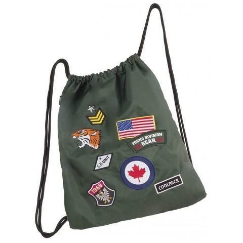 Worek na sznurkach / na buty CoolPack Sprint Badges Green zielony ze znaczkami