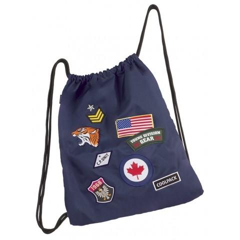Worek na sznurkach / na buty CoolPack Sprint Badges Navy granatowy ze znaczkami
