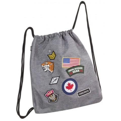 Worek na sznurkach / na buty CoolPack Sprint Badges Grey szary ze znaczkami
