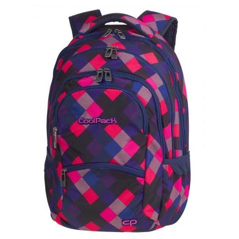 Plecak młodzieżowy CoolPack CP COLLEGE ELECTRIC PINK w różowo-niebieskie kwadraty super modny wzór - 5 przegród - A520
