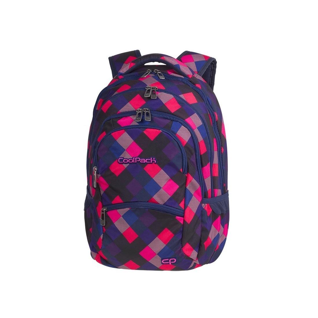 1ac3ff438324f Plecak młodzieżowy CoolPack CP COLLEGE ELECTRIC PINK w różowo-niebieskie  kwadraty super modny wzór -