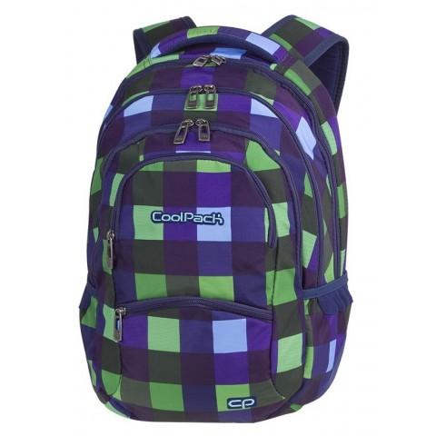 Plecak młodzieżowy CoolPack CP COLLEGE CRISS CROSS w kolorową zielono-niebieską kratkę organizer - 5 przegród - A514