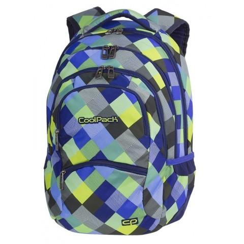 Plecak w kolorową kratę: niebieski, zielony, szary, żółty dla chłopaka CoolPack CP COLLEGE BLUE PATCHWORK hit sezonu