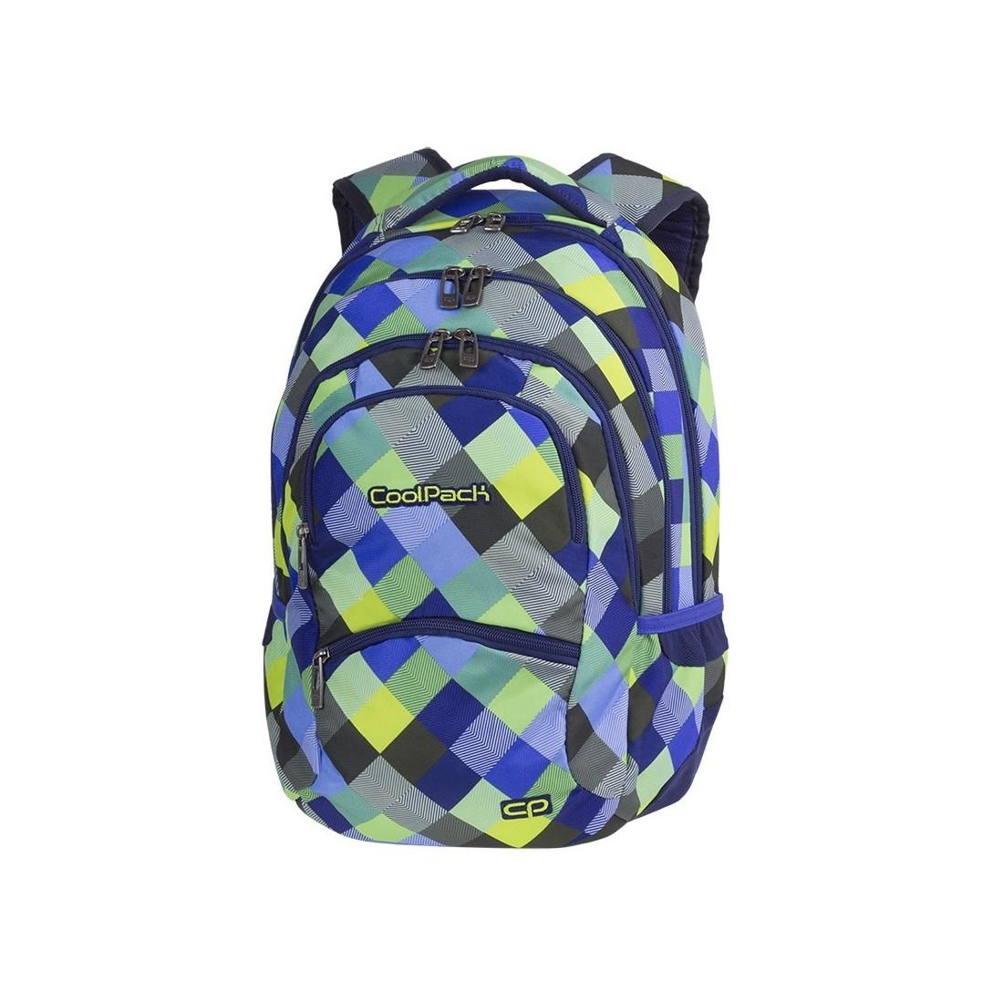 8e333889f4165 Plecak w kolorową kratę: niebieski, zielony, szary, żółty dla chłopaka CoolPack  CP