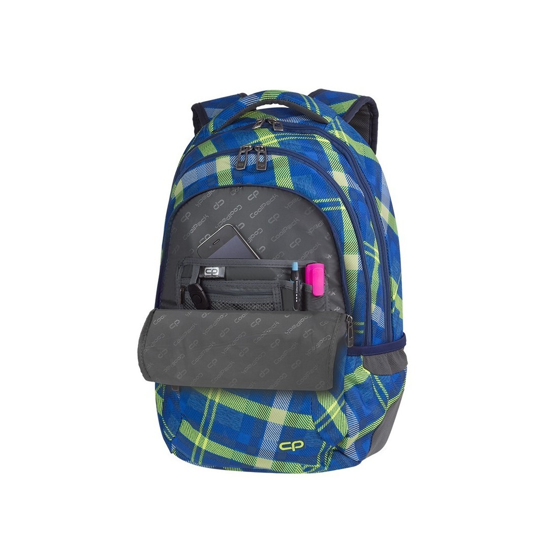 Plecak młodzieżowy CoolPack CP COLLEGE SPRINGFIELD zielono-niebieski w dużą kratę - 5 przegród - A534 - plecak-tornister.pl