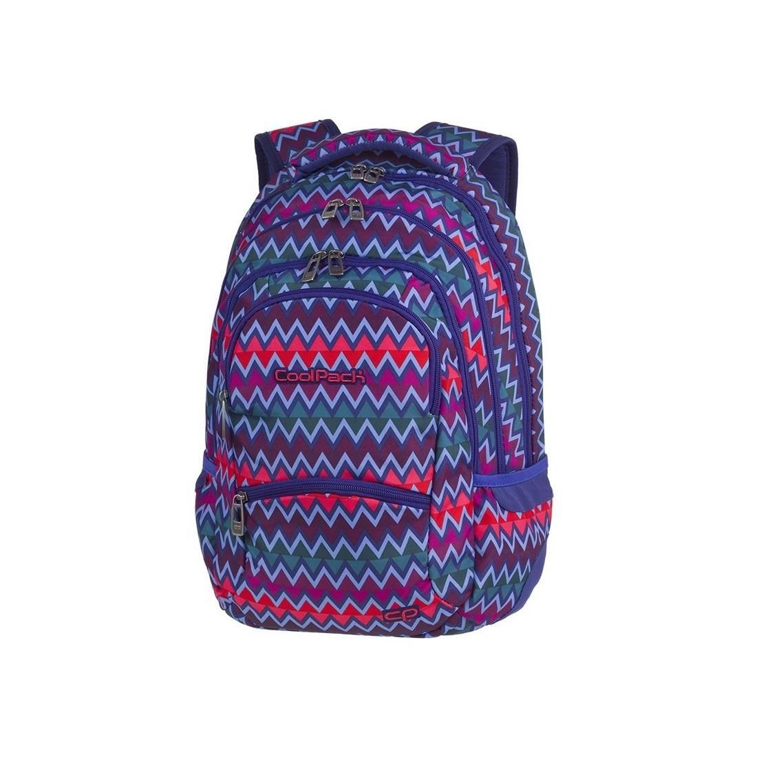 Plecak młodzieżowy CoolPack CP COLLEGE CHEVRON STRIPES zygzaki jodełkowy wzór niebieski różowy - 5 przegród - A526 - plecak-tornister.pl