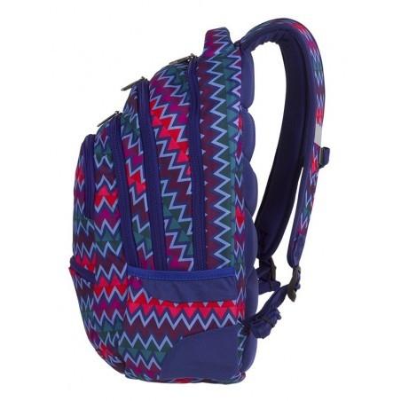 Plecak młodzieżowy CoolPack CP COLLEGE CHEVRON STRIPES zygzaki jodełkowy wzór niebieski różowy - 5 przegród - A526