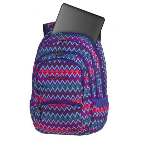 Plecak młodzieżowy CoolPack CP COLLEGE CHEVRON STRIPES jodełkowy wzór niebieski różowy kieszeń na laptop - 5 przegród - A526