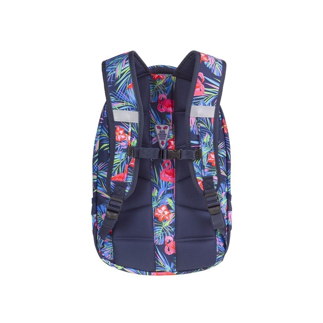 Plecak młodzieżowy CoolPack CP COLLEGE PINK FLAMINGO różowe flamingi kwiaty anatomicznie wyprofilowane plecy - 5 przegród - A478