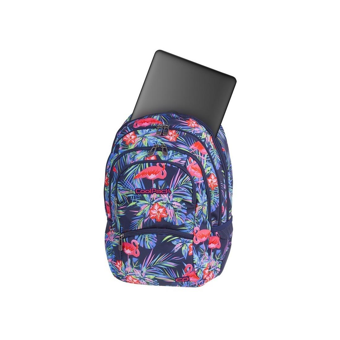 Plecak młodzieżowy CoolPack CP COLLEGE PINK FLAMINGO różowe flamingi kwiaty kieszeń na laptop - 5 przegród - A478
