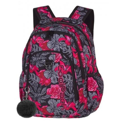 Plecak szkolny CoolPack CP STRIKE RED & BLACK FLOWERS czerwone hiszpańskie róże dla dziewczyny - A241 + GRATIS POMPON