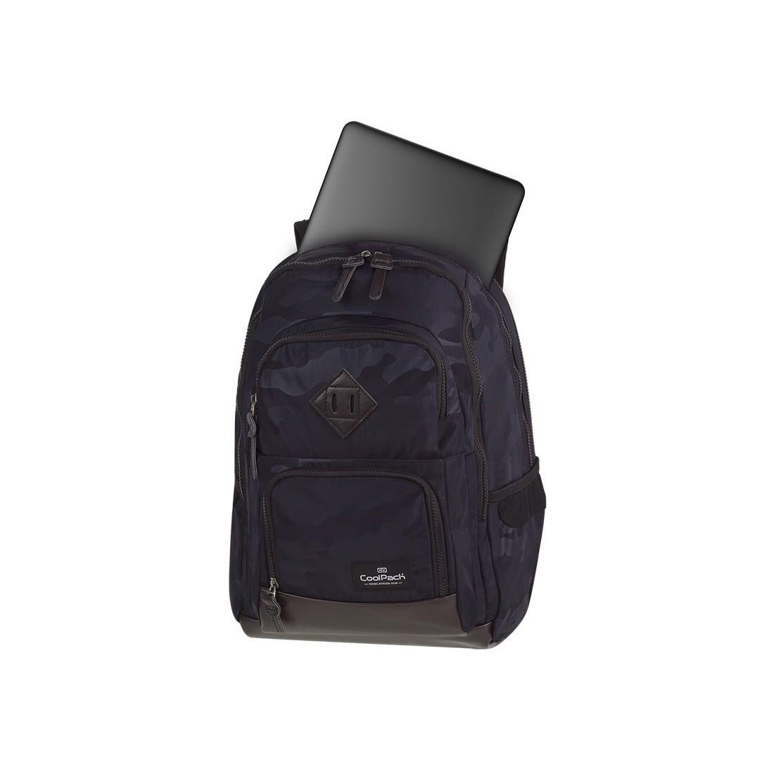 Plecak szkolny CoolPack CP UNIT CAMO BLACK czarne moro kieszeń na laptop - A560