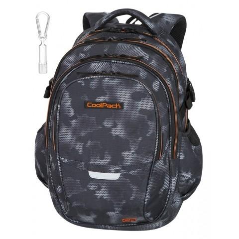 Plecak szkolny CoolPack CP FACTOR MISTY ORANGE czarny mgła pomarańczowe elementy dla chłopaka - 4 przegrody