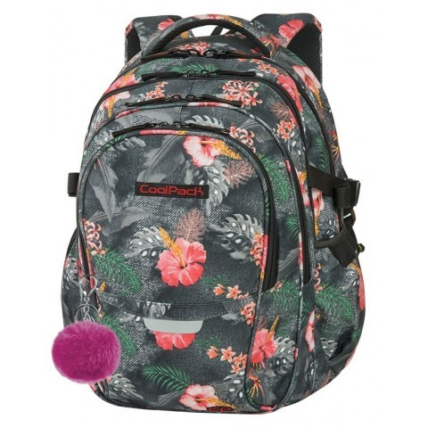 Plecak szkolny CoolPack CP FACTOR CORAL HIBISCUS kwiaty - 4 przegrody - A030
