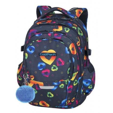 Plecak szkolny CoolPack CP FACTOR RAINBOW HEARTS serca w kolorach tęczy - 4 przegrody - A060 + GRATIS!