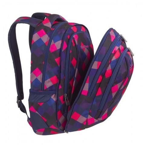 Plecak szkolny CoolPack CP COMBO ELECTRIC PINK w różowe kwadraciki - 2w1 - A523
