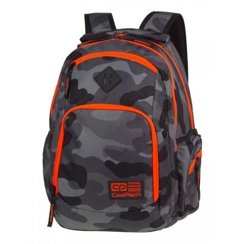Plecak szkolny COOLPACK CP BREAK CAMO ORANGE NEON dla nastolatka szare moro pomarańczowy neon - A380