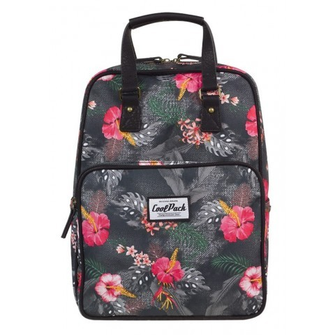 Plecak miejski CoolPack CP CUBIC HIBISCUS różowe kwiaty czarny vintage - A090