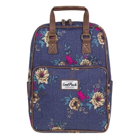 Plecak miejski CoolPack CP CUBIC BLUE DENIM FLOWERS niebieski jeans w kwiaty vintage - A093
