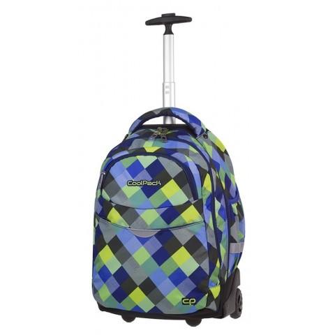 Plecak na kółkach w kratę żółty, zielony, niebieski CoolPack CP RAPID BLUE PATCHWORK
