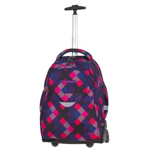 Plecak na kółkach w kratkę różowy, czarny, niebieski dla dziewczyny CoolPack CP RAPID ELECTRIC PINK