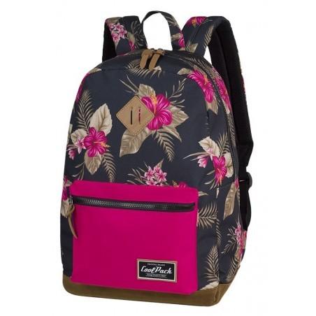 Plecak miejski CoolPack CP GRASP TROPICAL JUNGLE dżungla kwiaty różowa kieszeń - A127