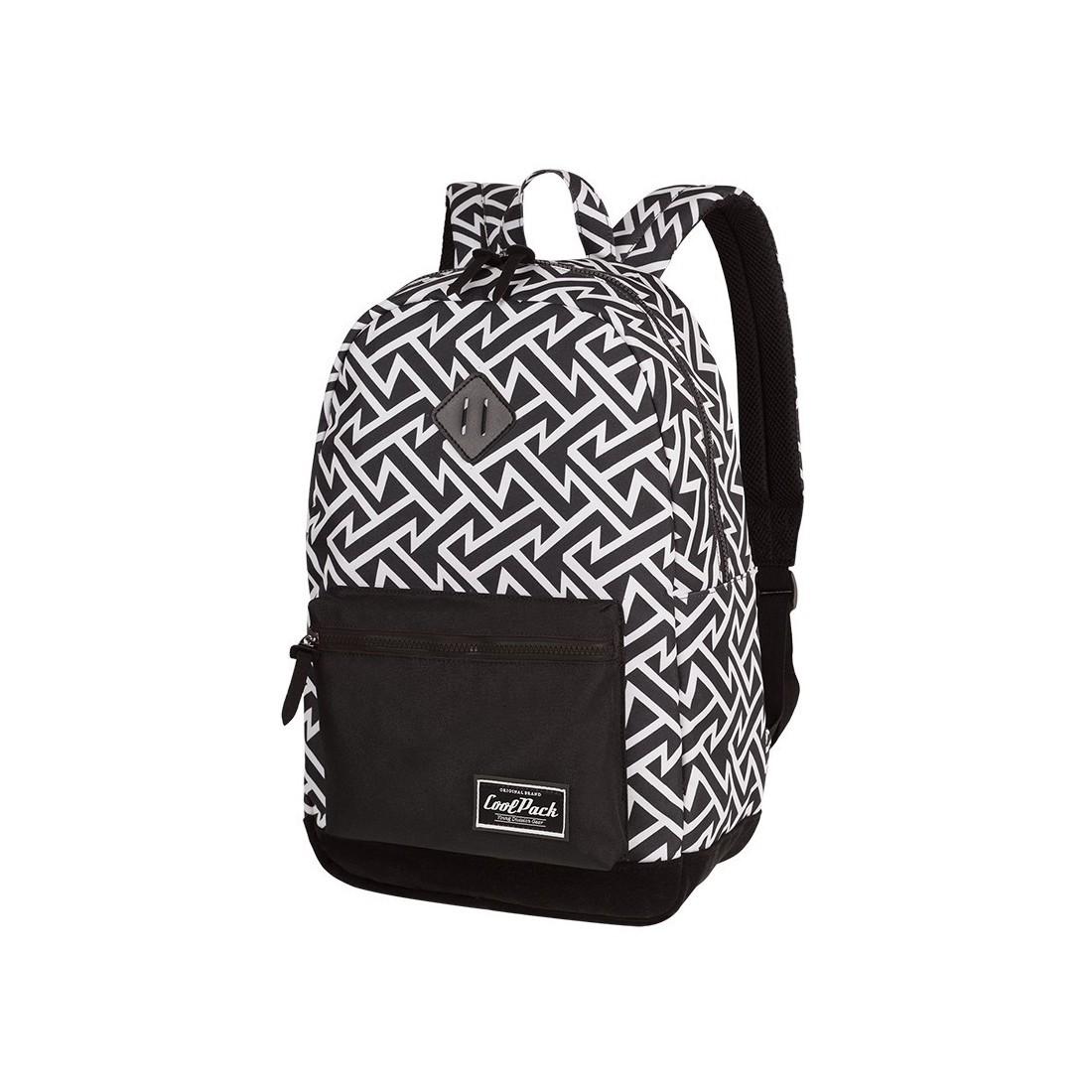Plecak miejski CoolPack CP GRASP BLACK & WHITE TRIBAL geometryczne białe wzory czarne tło - A124