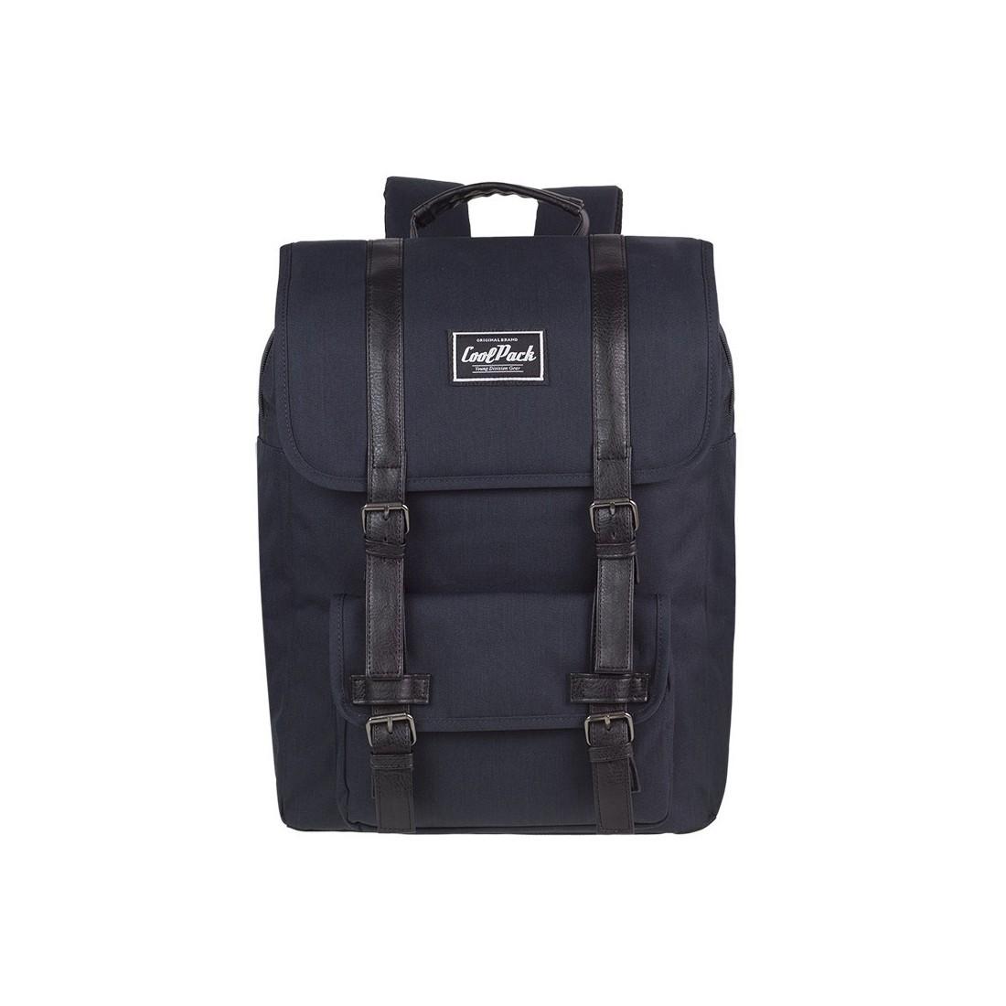Plecak miejski CoolPack CP TRAFFIC BLACK czarny retro kieszeń na laptop A132