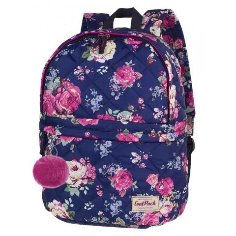 3168a4db1016e Plecak na wycieczki CoolPack CP FANNY MIDNIGHT GARDEN pikowany granatowy w  róże - A104 + pompon
