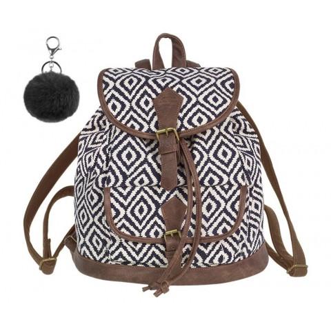 Plecak vintage CoolPack CP FIESTA INDIGO czarno-białe romby - A137 + GRATIS