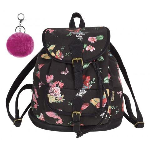 Plecak vintage CoolPack CP FIESTA TWILIGHT czarny w kwiaty i motyle - A139 + GRATIS