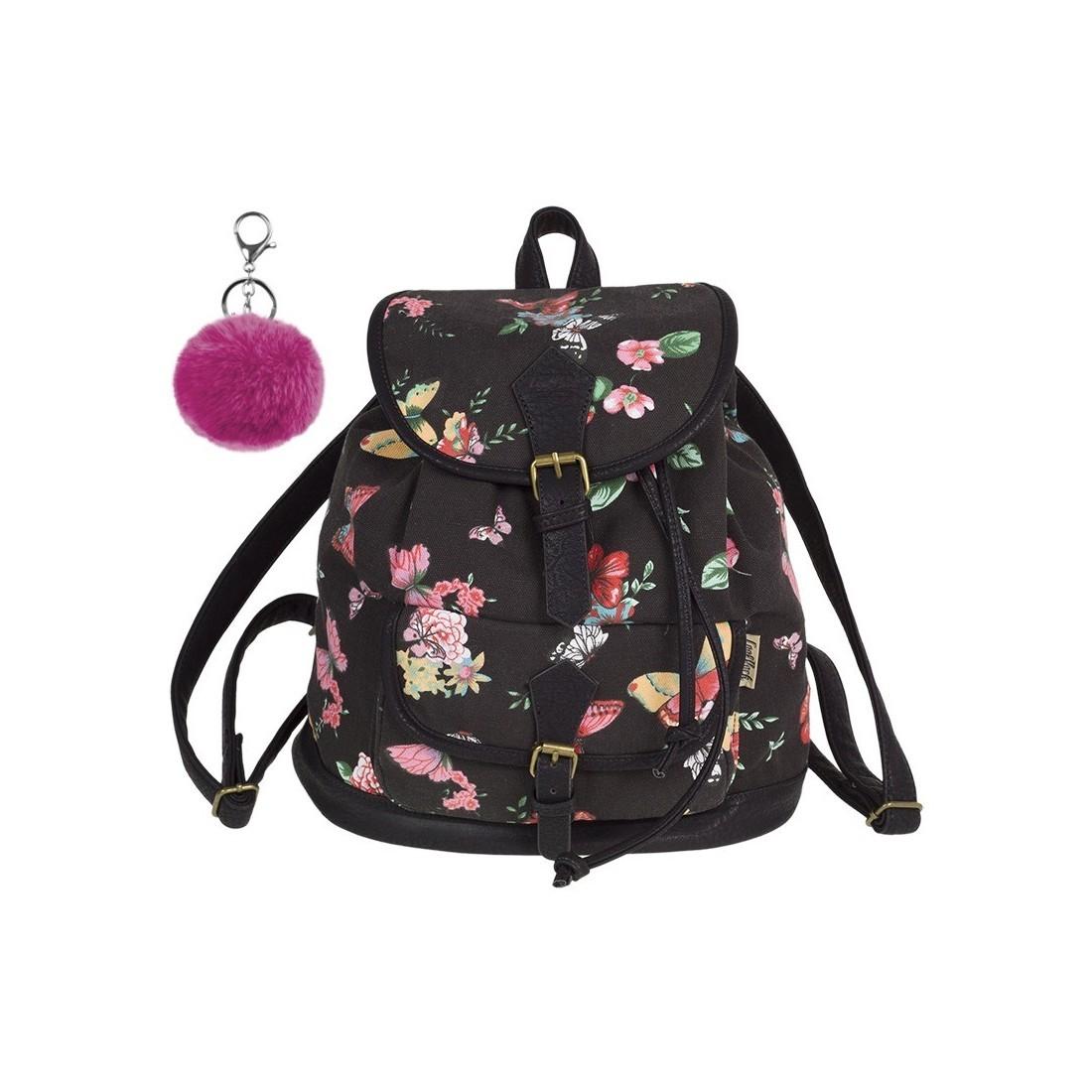 Plecak vintage CoolPack CP FIESTA TWILIGHT czarny w kwiaty i motyle A139 + GRATIS