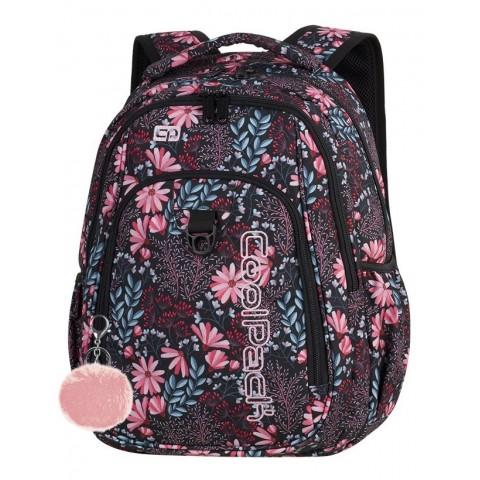 Plecak szkolny CoolPack CP STRIKE CORAL BLOSSOM koralowe pastelowe kwiaty dla dziewczyny - A270 + GRATIS POMPON