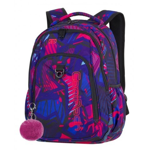 Plecak szkolny CoolPack CP STRIKE CRAZY PINK ABSTRACT różowa abstrakcja dla nastolatki - A285 + GRATIS POMPON