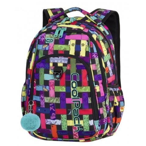 Plecak szkolny CoolPack CP STRIKE RIBBON GRID wielobarwne wstążki w kratę dla dziewczyny - A296 + GRATIS POMPON