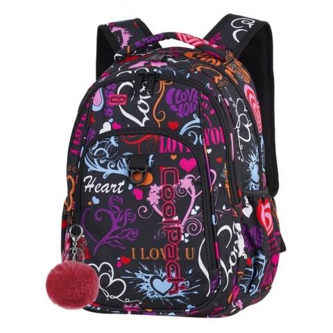 Plecak szkolny CoolPack CP STRIKE EMOTIONS serca napisy dla dziewczyny - A254 + GRATIS POMPON