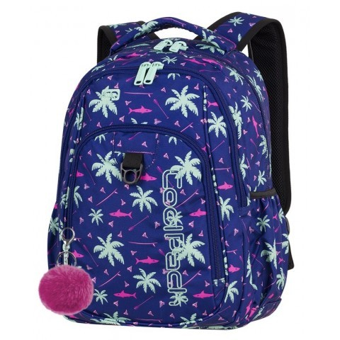 Plecak szkolny CoolPack CP STRIKE PINK SHARKS palmy rekiny dla dziewczyny lato 2018 - A260 + GRATIS POMPON