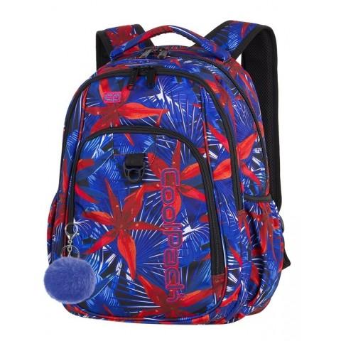 Plecak szkolny CoolPack CP STRIKE HAWAIAN BLUE hawajskie czerwone kwiaty dla nastolatki - A308