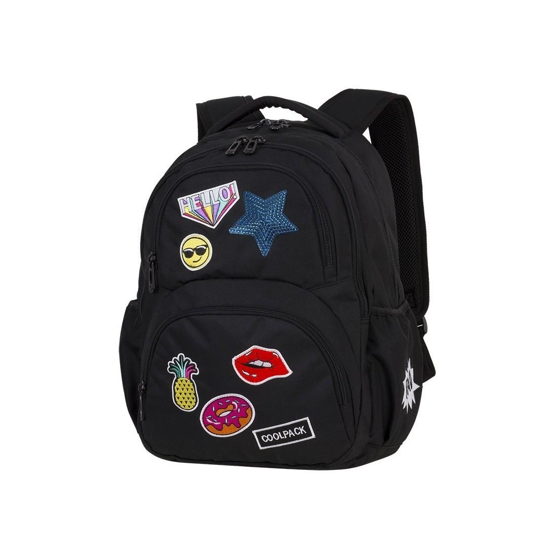 c3f37943533f9 Plecak młodzieżowy CoolPack CP DART II BADGES GIRLS BLACK czarny z  naszywkami