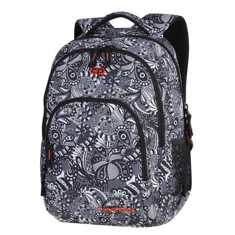 11b4ee6237b61 Plecak szkolny CoolPack CP BASIC PLUS Black Lace czarno-białe kwiaty do  kolorowania dla nastolatek
