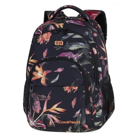 Plecak szkolny CoolPack CP BASIC PLUS LILIES kwiaty lilie na czarnym tle dla nastolatek - A145