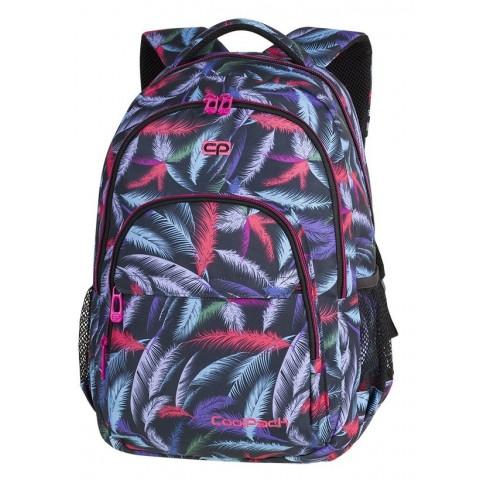 7d0e7d190d185 Plecak szkolny CoolPack CP BASIC PLUS PLUMES kolorowe piórka na czarnym tle  dla nastolatek - A171