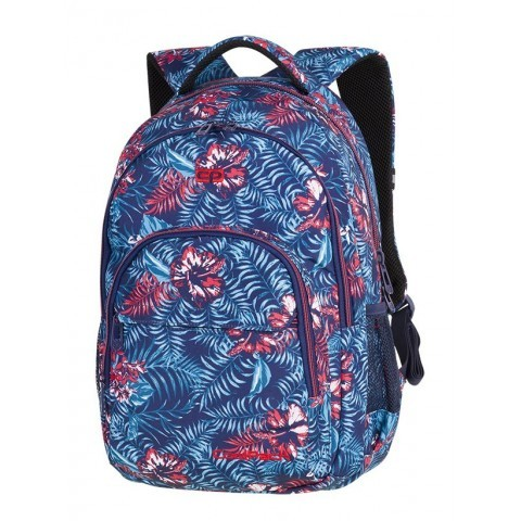 7b67c6db7b27c Plecak szkolny CoolPack CP BASIC PLUS EMERALD JUNGLE niebieskie kwiaty  dżungla dla dziewczyn - A140