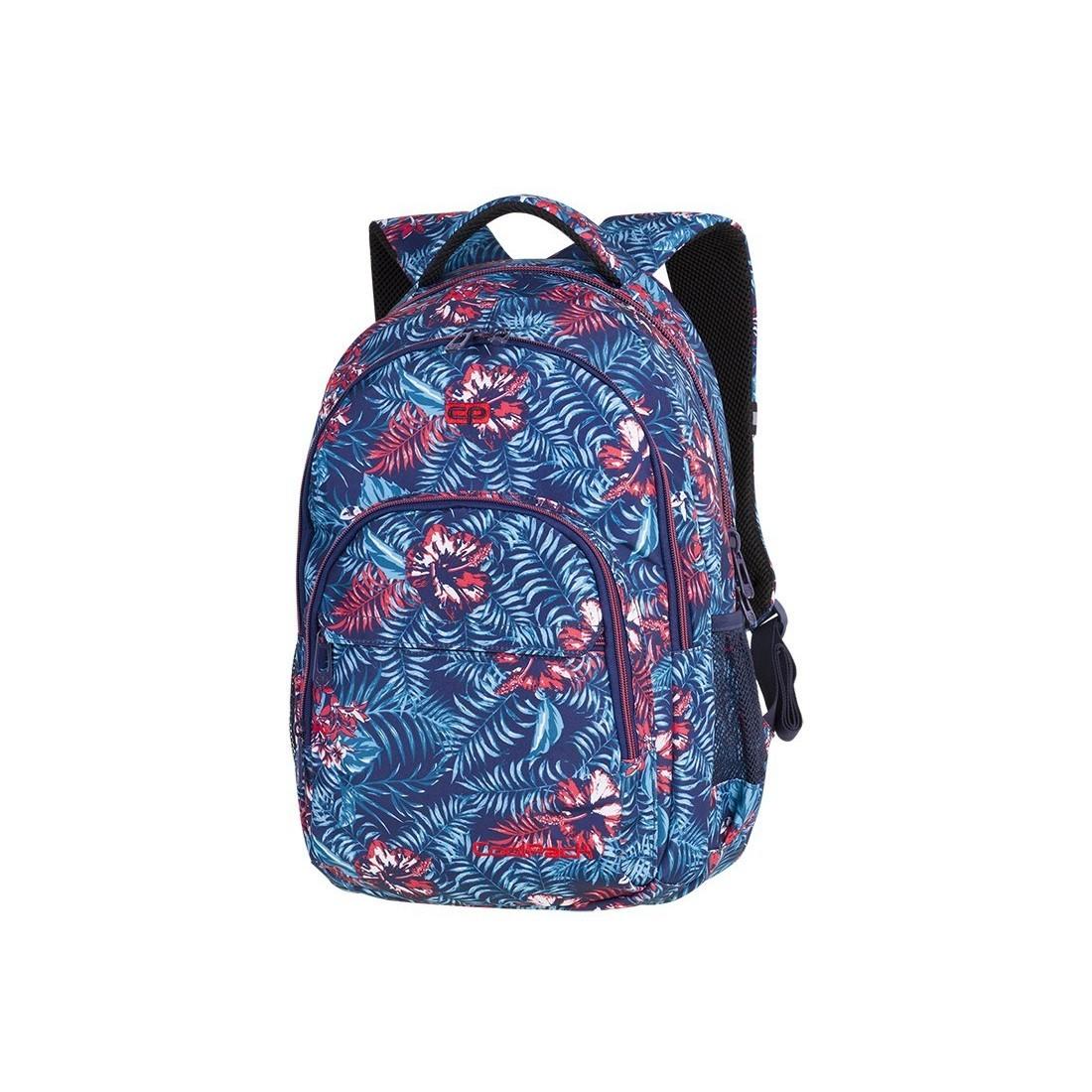 e34b12a66160e Plecak szkolny CoolPack CP BASIC PLUS EMERALD JUNGLE niebieskie kwiaty  dżungla dla dziewczyn - A140