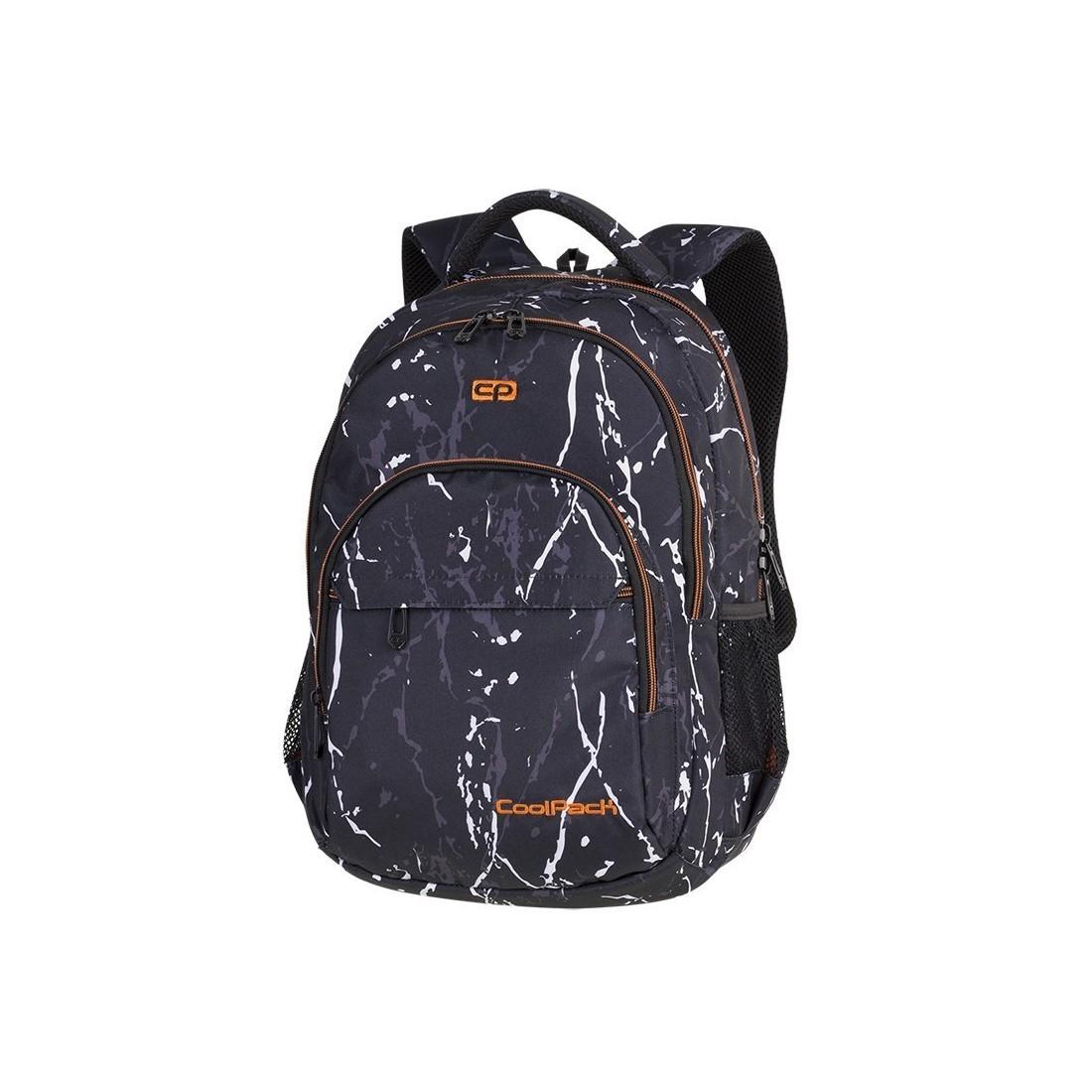 Plecak szkolny CoolPack CP BASIC PLUS BLACK MARBLE czarny marmur pomarańczowe elementy A141