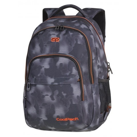 9450f4550542d Plecak szkolny CoolPack CP BASIC PLUS MISTY ORANGE szara mgła na czarnym  tle pomarańczowe zamki dla
