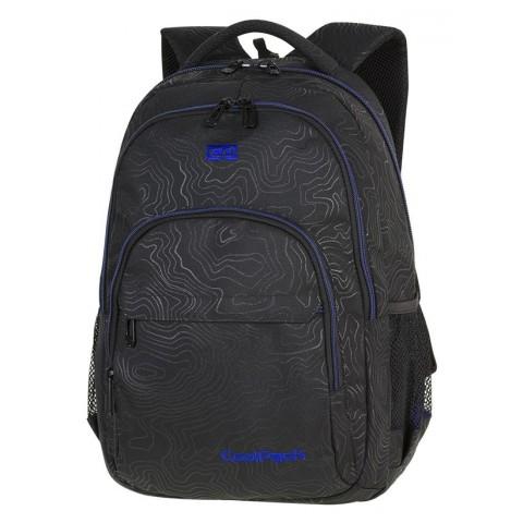 c799dcdc528ed Plecak szkolny CooTopolPack CP BASIC PLUS TOPOGRAPY BLUE czarny z  niebieskimi elementami w izolinie dla chłopaka